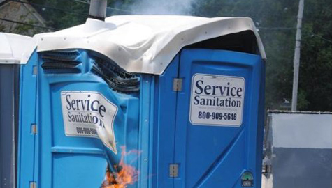 fire damaged porta potty